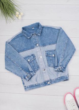 Стильная джинсовая куртка джинсовка пиджак с надписью оверсайз...