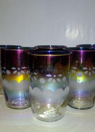 Набор стаканов с цветным напылением и с матированным орнаментом