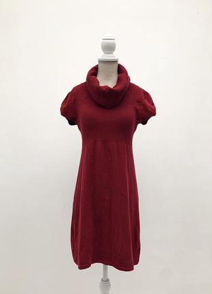 Темно-красное тёплое трикотажное платье с хомутом