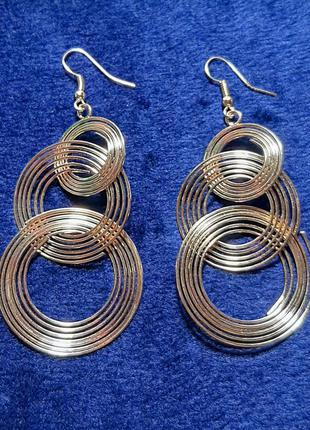 Серьги длинные, спиральные, цвет золото