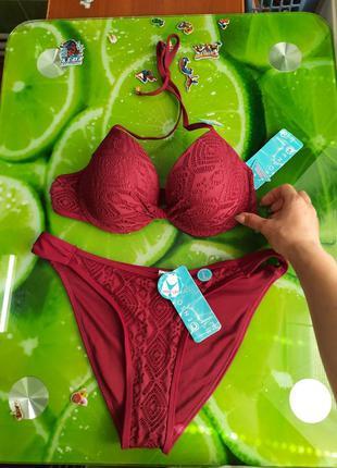 Стильный бордовый марсала купальник раздельный модный
