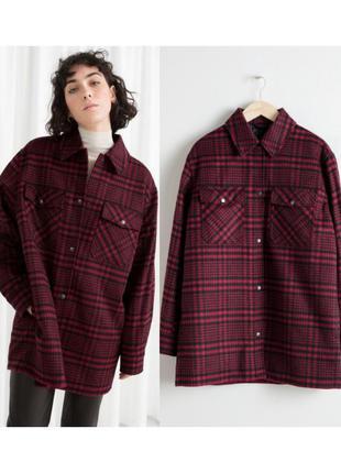 Шерстяная куртка рубашка в клетку