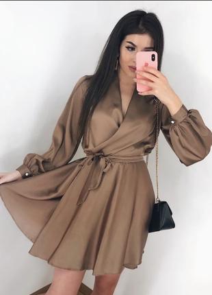 Женское стильное шелковое платье