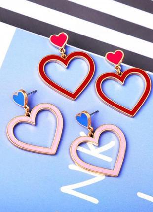 """Серьги сердце """"two hearts"""", красные, розовые"""