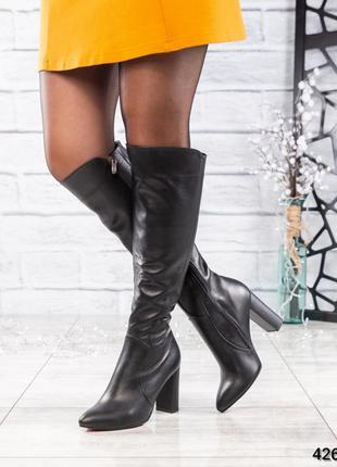 ❤ женские черные весенние деми кожаные высокие сапоги ботфорты...