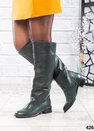❤ женские зеленые весенние деми кожаные высокие сапоги полусап...