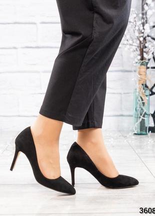 ❤ женские черные замшевые туфли лодочки ❤