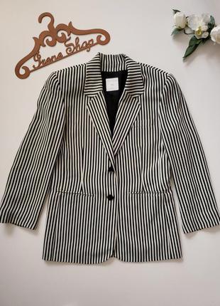 Фирменный винтажный пиджак в полоску jean claude, размер 38