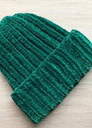 Шапка вязаная ручная работа зеленая велюр новая handmade тепла...