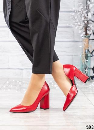 ❤ женские красные кожаные туфли лодочки❤