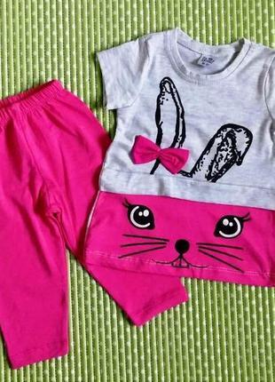 Летний костюм с зайчиком для девочки 3-4 года