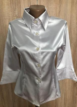 Сатиновая белая блуза