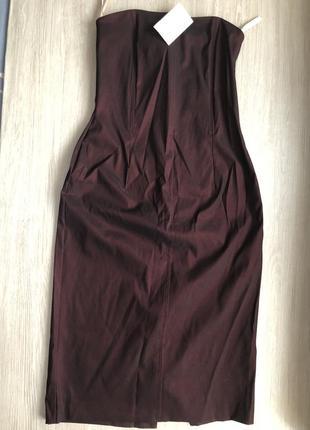 Платье бордовое с корсажем без бретелей м