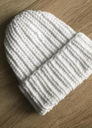 Шапка вязаная ручная работа белая велюр новая handmade теплая ...