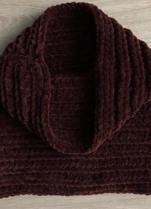 Велюровый снуд (хомут/бафф) ручной работы шоколадного цвета