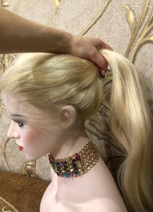Натуральный парик блонд на полной сетке (система волос на сетк...