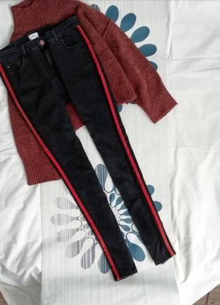 Черные джинсы скинни скини skinny с лампасами чорні джинси скіни