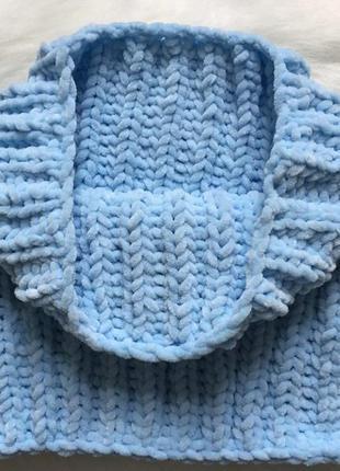 Велюровый снуд (хомут/бафф) ручной работы голубого цвета