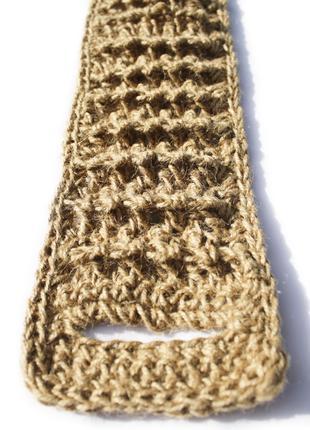 Мочалка 70х9 для спины натуральная из джута с рельефными полосами