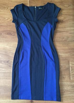 Платье синее с голубыми полосками на молнии сзади разм. s