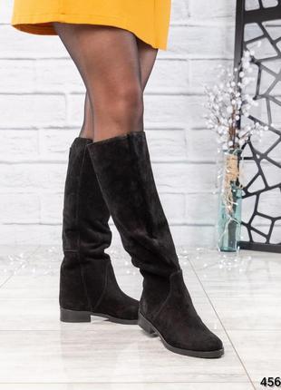 ❤ женские черные весенние деми замшевые высокие сапоги полусап...