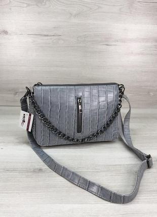Женская сумочка кросс-боди голубого цвета