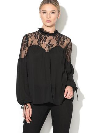 Шикарная кружевная черная блуза