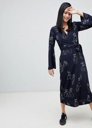 Платье миди на запах sale