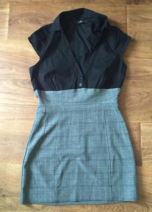 Короткое летнее платье с классическим воротником