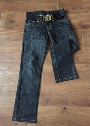 Черные джинсы прямого кроя с поясом резинкой