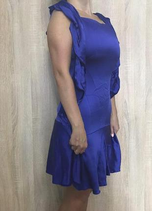 Синее мини платье электрик