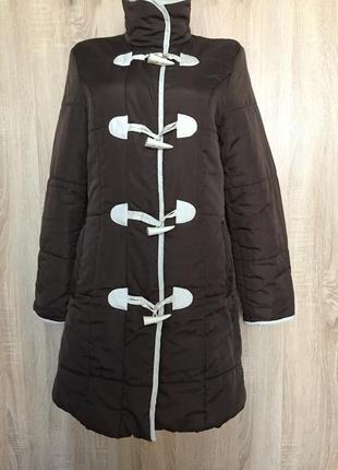 Демисезонная удлиненная куртка пальто с воротником стойкой и к...