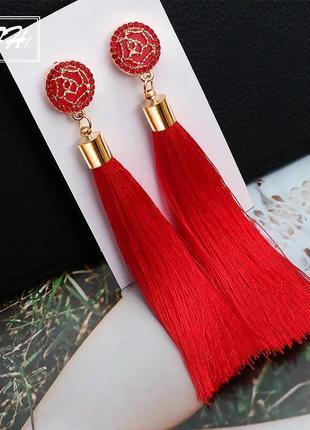 Серьги кисточки длинные красные