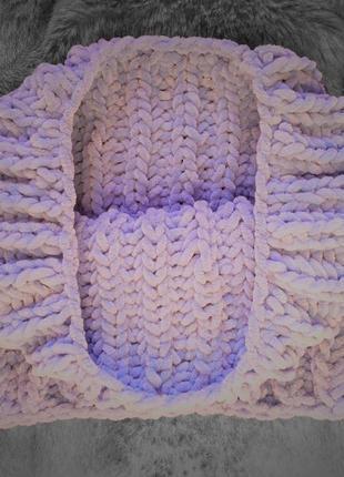 Снуд хомут шарф вязаный ручная работа сиреневый велюр новый те...