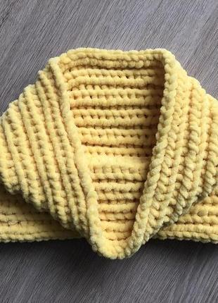 Снуд хомут шарф вязаный ручная работа желтый велюр новый теплы...