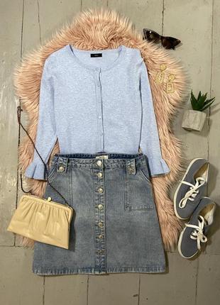 Актуальная джинсовая юбка трапеция на пуговицах №20