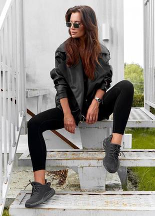 Куртка женская черная экокожа, стильная дизайнерская трендовая...