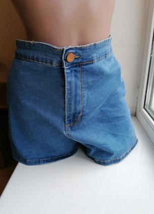 Эластичные стрейчевые голубые джинсовые шорты с высокой посадк...