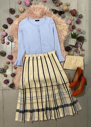 Актуальная винтажная шерстяная юбка миди с плиссировкой высока...
