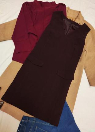 Бордовое бордо марсала классическое прямое платье на подкладке...