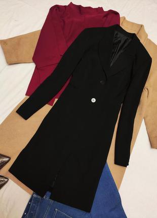 Пиджак жакет длинный удлинённый чёрный классический на пуговиц...