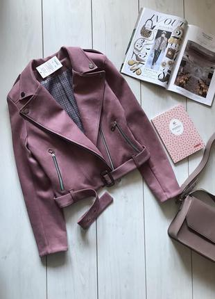 Малиновая куртка косуха под замш