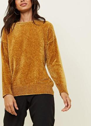 Горчичный велюровый свитер шенилл new look p s