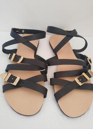 Черные кожаные сандали, босоножки next  с металлическими пряжками