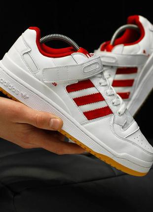 Adidas forum mid white red, кроссовки мужские адидас белые кра...