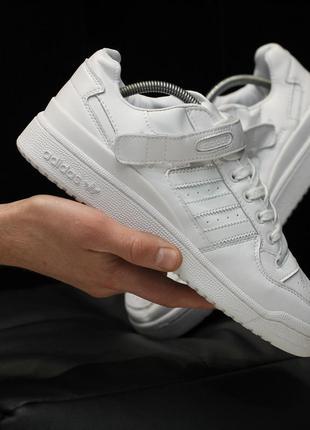 Adidas forum white, мужские белые кроссовки адидас, демисезон ...