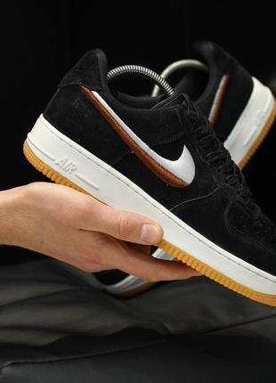 Nike air force black white, кроссовки найк мужские чёрные, дем...