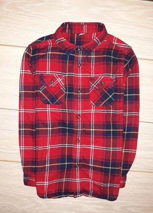 Яркая, тёплая рубашка marks&spencer на 7-8 лет