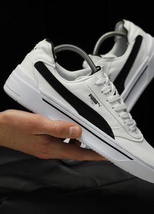 Puma cali black white, мужские белые кроссовки пума кали, деми...