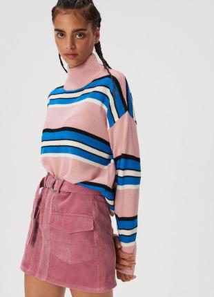 Новая широкая полосатая розовая кофта свитер польша синяя поло...